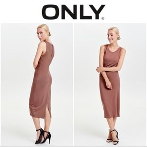 ONLY Sleeveless Maxi Dress Tan/Brown Size M